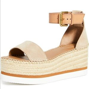 SEE BY CHLOÉ Wedge Sandals 10 US10 blue nude
